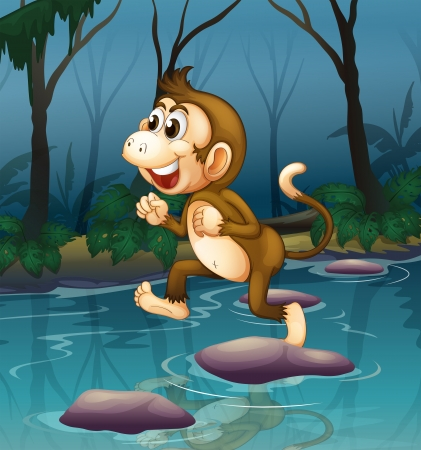 Illustration of a monkey smiling while crossing the river