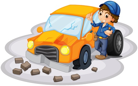 fixing: Illustration of a boy fixing a broken orange car on a white background