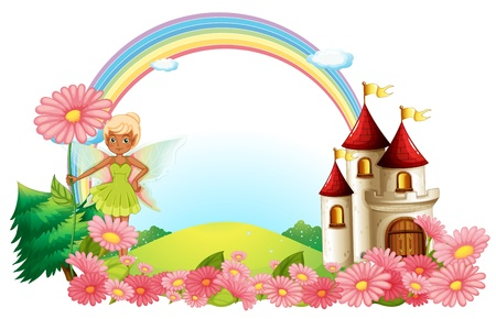 pixie: Illustration of a pixie and a castle on a white background