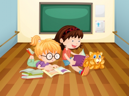 Illustration of the two girls reading books inside a room Vector
