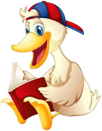 Ilustración de un pato feliz leyendo un libro sobre un fondo blanco