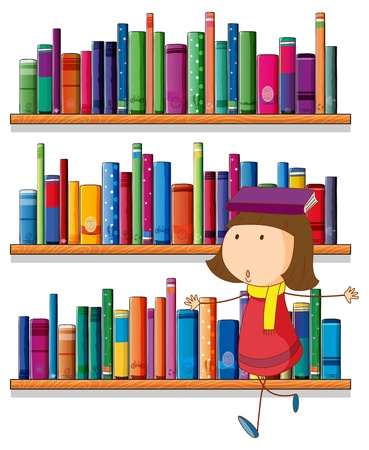 Illustration of a girl balancing a book above her head in front of the bookshelves on a white background  Stock Vector - 20518159