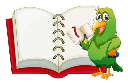 fable: Illustration of a parrot holding an empty book with a marker on a white background Illustration