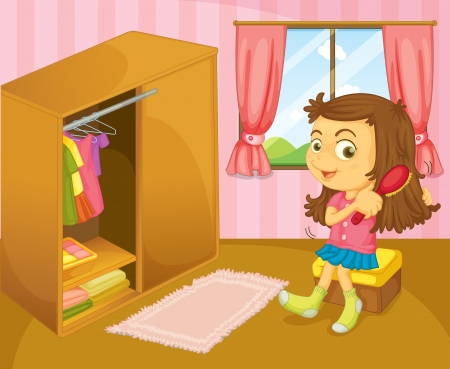 Illustration of a girl brushing her hair inside her room  Vector
