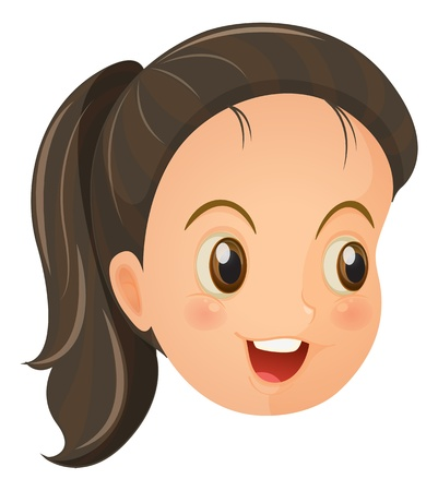 with face: Illustration of a face of a cute little girl on a white backround