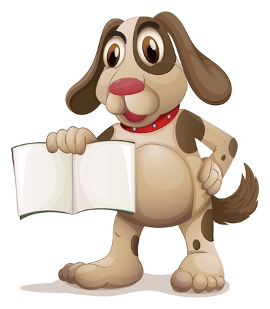 drawings image: Illustration of a dog holding an empty book on a white background