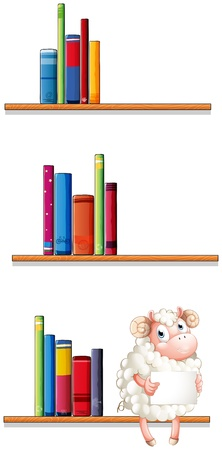 Illustration of a sheep in the library on a white background Stock Vector - 20517997
