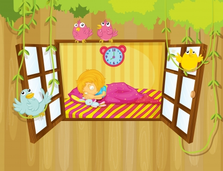 Illustration of a young girl sleeping Vector