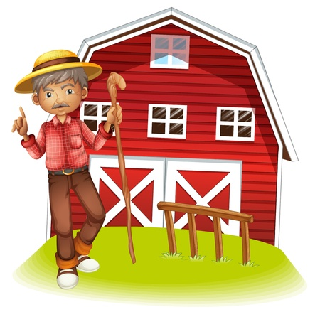 white pants: Illustration of an old man in  the barn Illustration