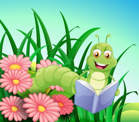 hilltop: Illustration of a worm reading a book