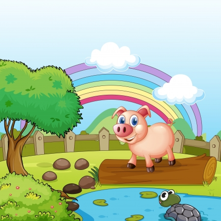 hillside: Illustration of a pig standing above the trunk with a turtle at the pond