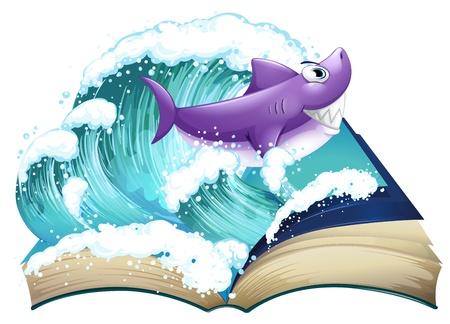 libro de cuentos: Ilustraci�n de un libro de cuentos con un tibur�n y una gran ola sobre un fondo blanco