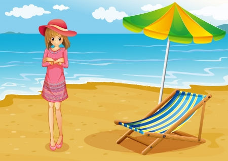 Illustration of a lady wearing a pink dress at the beach Stock Vector - 20517945