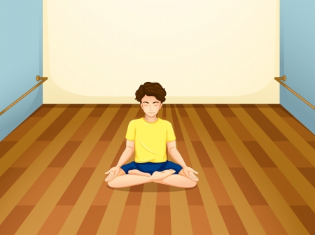 concentrate: Illustration of a man with a yellow shirt performing yoga inside a room