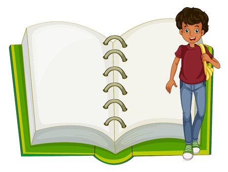 writing materials: Illustration of a boy and an empty notebook on a white background