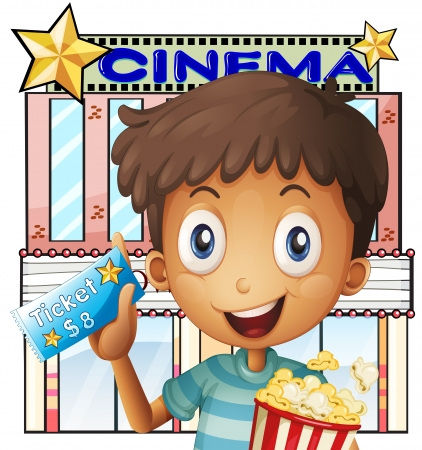 Illustration of a boy holding a pail of popcorn and a ticket outside the cinema on a white background  Stock Vector - 20517890