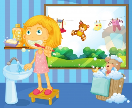 cepillarse los dientes: Ilustraci�n de una ni�a lav�ndose los dientes Vectores
