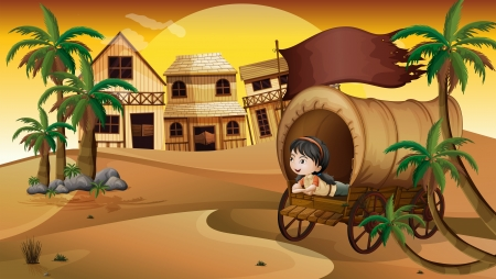 Illustration of a young girl inside a wagon Vector