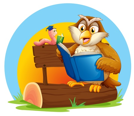log book: Illustration of an owl and a worm reading a book on a white background Illustration