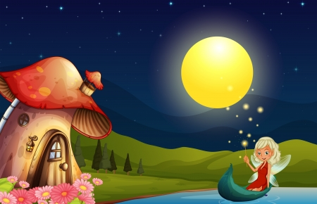 lake house: Illustration of a fairy and her mushroom house