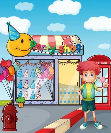 flaglets: Illustration of a boy holding a lollipop outside the party shop  Illustration