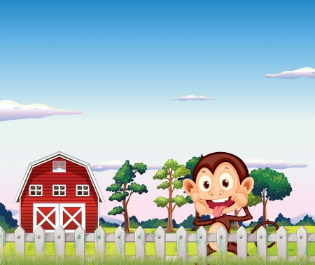 red barn: Illustration of a monkey near the red barnhouse