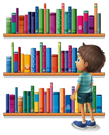 Illustration of a boy in the library in front of the bookshelves Stock Vector - 20518232