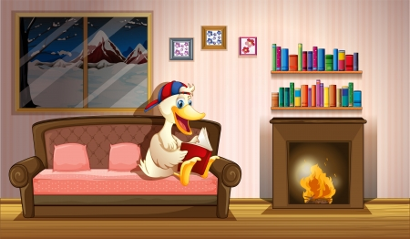 fireplace home: Illustration of a duck reading a book beside a fireplace Illustration
