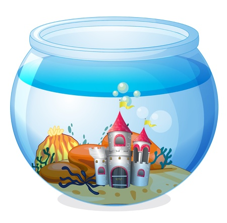 Illustration of a castle inside an aquarium on a white background