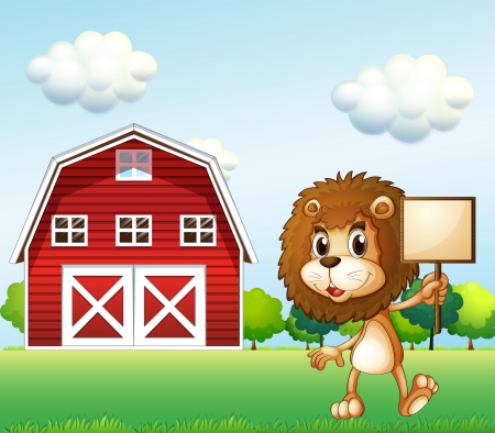 Illustration of a lion near the barn holding an empty signboard Vector