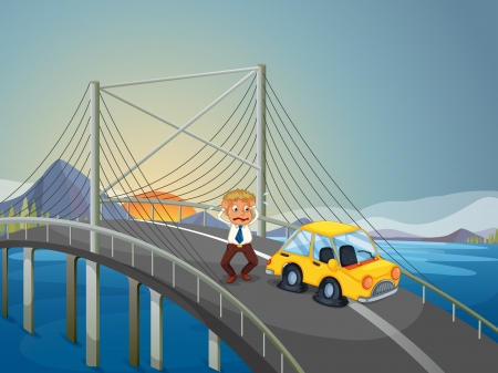car accident: Illustration of a car accident at the bridge