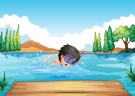 boy swim: Illustration of a boy swimming in the river with a pink goggle