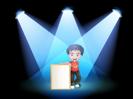 centerstage: Illustration of a boy with a framed signage at the stage