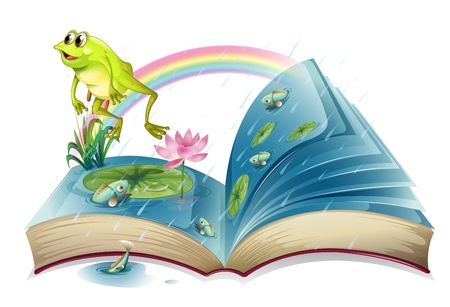fable: Illustration of a storybook with a frog and fishes at the pond on a white background