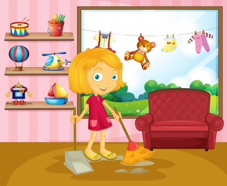 Illustration of a girl sweeping inside the house