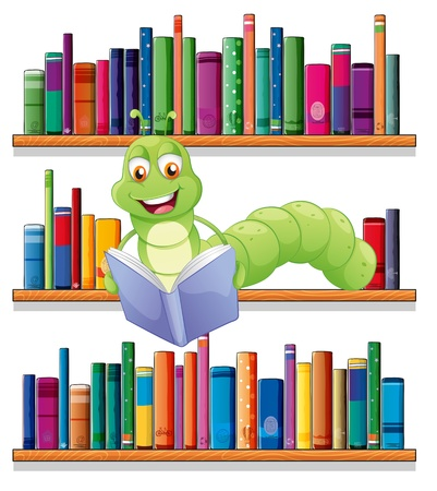 shelf with books: Illustration of a caterpillar reading a book on a white background