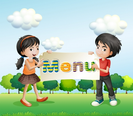 Illustration of a girl and a boy holding a signboard Stock Vector - 20518289