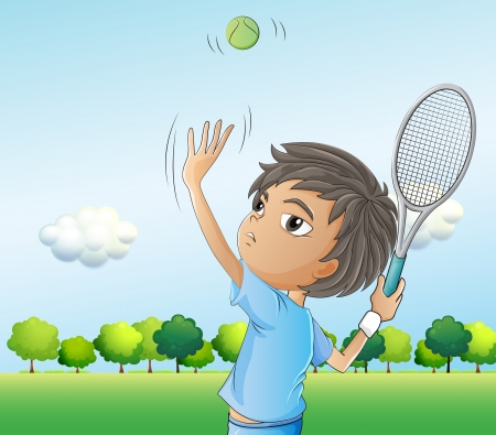 Illustration of a young boy playing tennis Stock Vector - 20517747