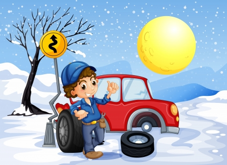 snow tires: Illustration of a boy repairing a car in a snowy area