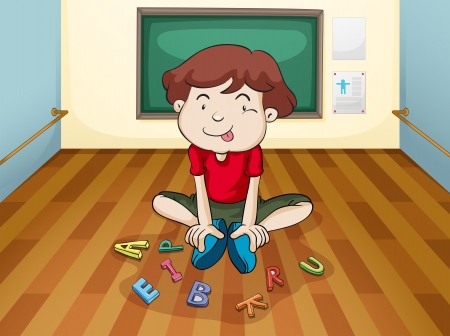 Illustration of a silly boy playing letters Illustration