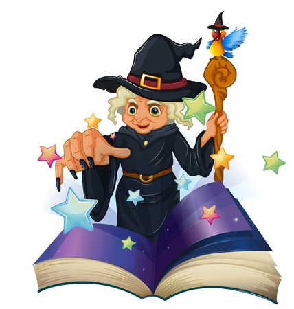 storybook: Illustration of a storybook about a black witch on a white background Illustration
