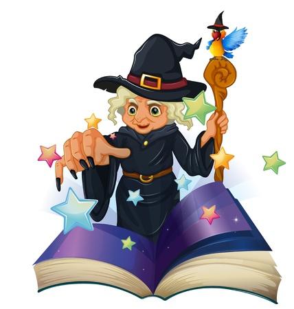 libro de cuentos: Ilustraci�n de un libro de cuentos sobre una bruja negro sobre un fondo blanco