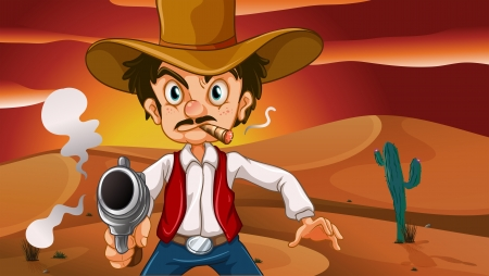 Illustration of a mad cowboy with a weapon Vector