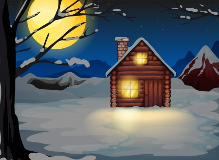 Illustration of a wooden house in a snowy area Stock Vector - 20518331