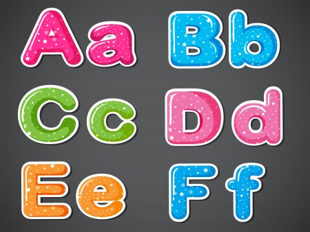 Illustration of the letters of the alphabet in different colors on a gray background Vector