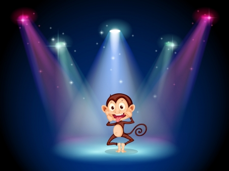 stageplay: Illustration of a silly monkey at the stage