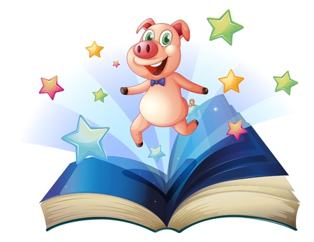 fantasy book: Illustration of an open book with a pig jumping happily on a white background Illustration