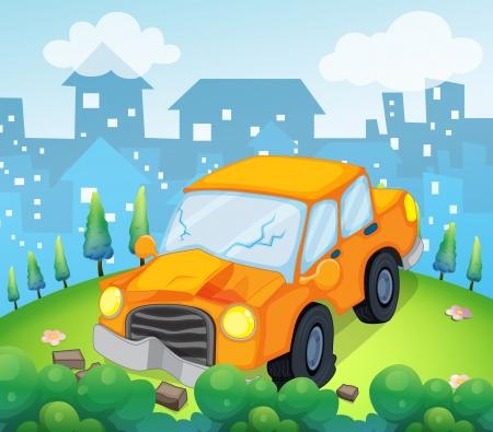 crashed: Illustration of a car crash at the hilltop