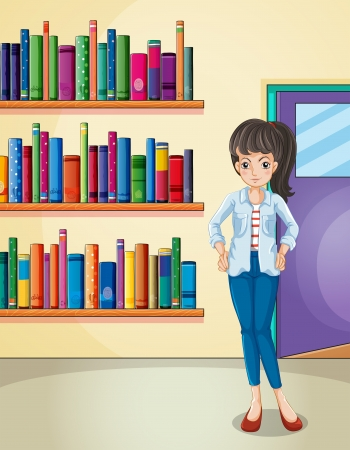 Illustration of a pretty girl in the library Stock Vector - 20518218