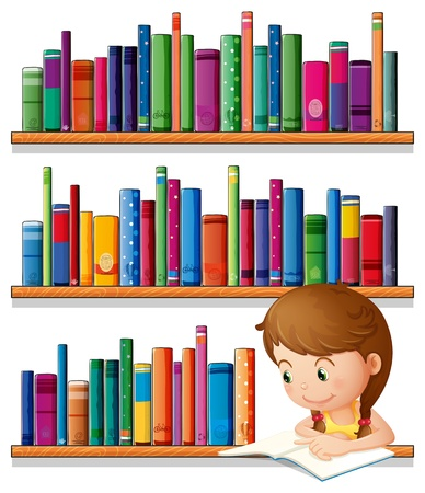 student with books: Illustration of a young girl reading in the library on a white background